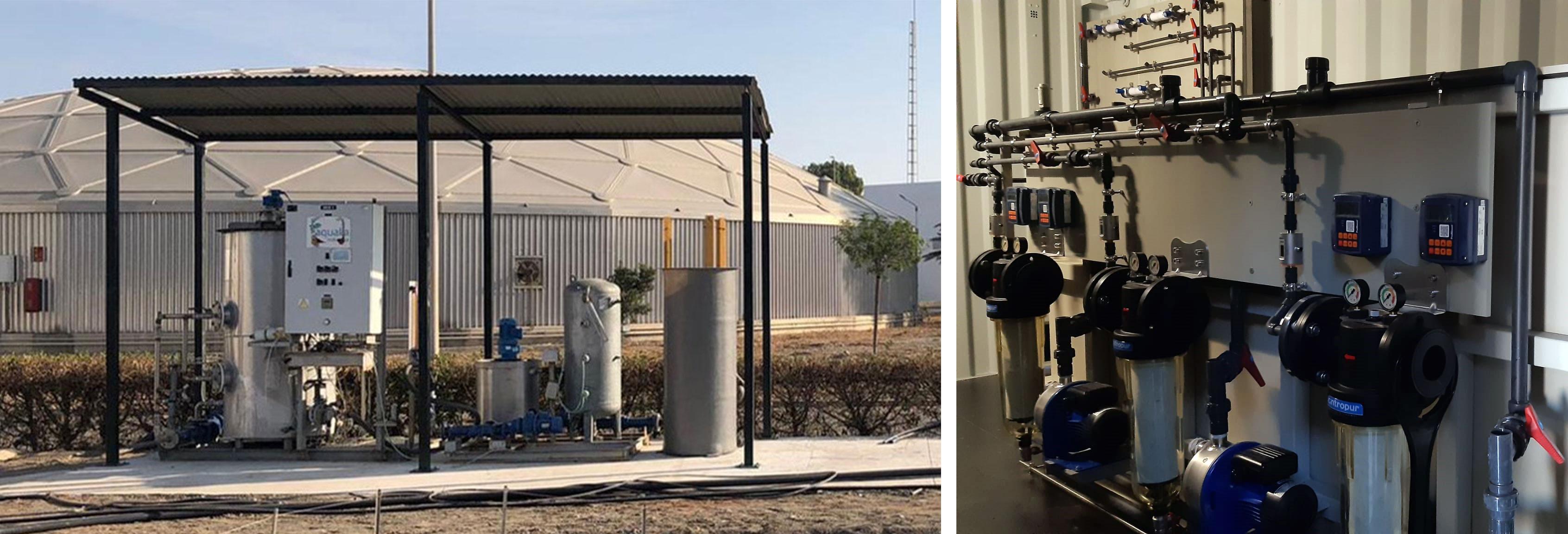 Planta piloto de precipitación de estruvita y planta piloto de hidrólisis enzimática del proyecto LIFE ULISES.